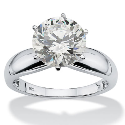 Diamonart Womens 3 1/2 CT. T.W. White Cubic Zirconia Platinum Over Silver Round Engagement Ring