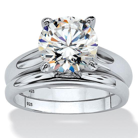 Diamonart Womens 3 CT. T.W. White Cubic Zirconia Platinum Over Silver Round Bridal Set
