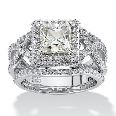 Diamonart Womens 2 3/4 CT. T.W. White Cubic Zirconia Platinum Over Silver Square Bridal Set