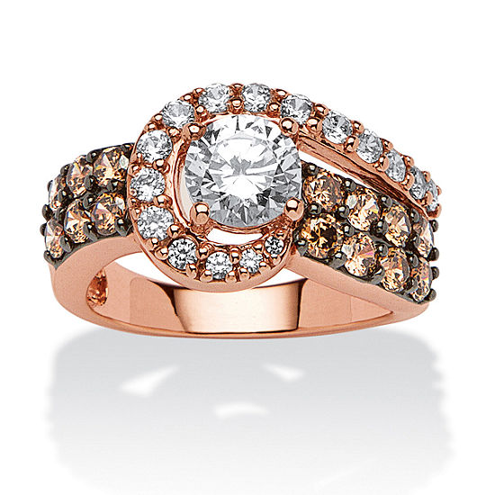 DiamonArt® Womens 2 1/2 CT. T.W. White Cubic Zirconia 14K Rose Gold Over Silver Round Cocktail Ring