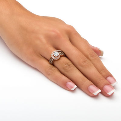 Diamonart Womens 2 1/2 CT. T.W. White Cubic Zirconia 14K Gold Over Silver Cocktail Ring