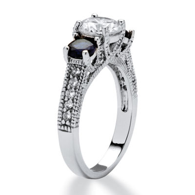 Diamonart Womens 1 5/8 CT. T.W. White Cubic Zirconia Sterling Silver Round Engagement Ring