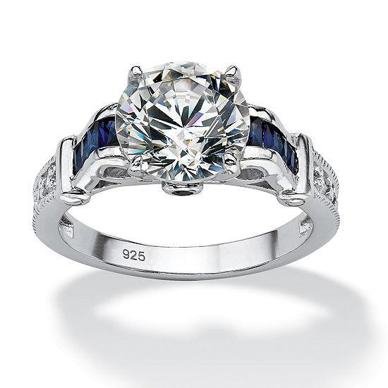 DiamonArt® Womens 5 CT. T.W. White Cubic Zirconia Platinum Over Silver Round Engagement Ring