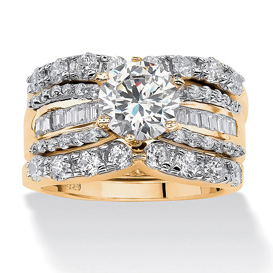 Diamonart Womens 5 1/2 CT. T.W. White Cubic Zirconia 18K Gold Over Silver Round Bridal Set