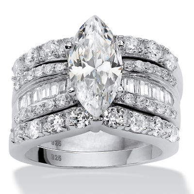 Diamonart Womens 4 1/2 CT. T.W. White Cubic Zirconia Platinum Over Silver Diamond Bridal Set