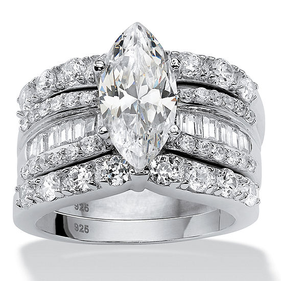 DiamonArt® Womens 4 1/2 CT. T.W. White Cubic Zirconia Platinum Over Silver Bridal Set