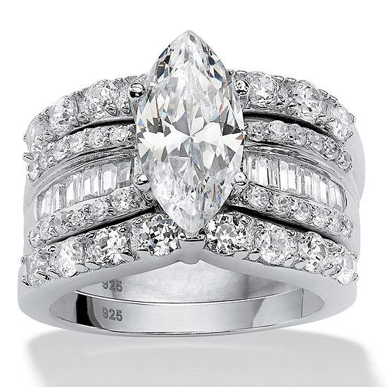 Diamonart Womens 4 1/2 CT. T.W. White Cubic Zirconia Platinum Over Silver Bridal Set