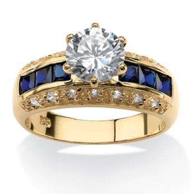 Diamonart Womens 3 1/2 CT. T.W White Cubic Zirconia 14K Gold Over Silver Round Engagement Ring