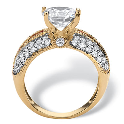 Diamonart Womens 5 1/2 CT. T.W. White Cubic Zirconia 14K Gold Over Silver Round Engagement Ring