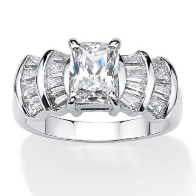 Diamonart Womens 3 CT. T.W. White Cubic Zirconia Platinum Over Silver Rectangular Engagement Ring