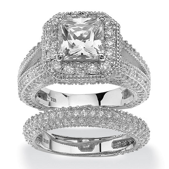 DiamonArt® Womens 5 CT. T.W. White Cubic Zirconia Platinum Over Silver Square Bridal Set