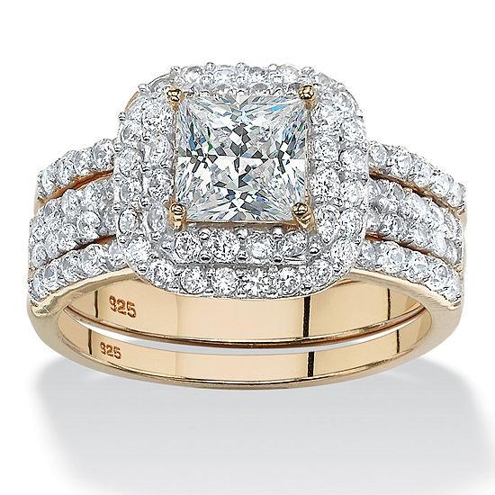 Diamonart Womens 2 1/3 CT. T.W. White Cubic Zirconia 14K Gold Over Silver Square Bridal Set