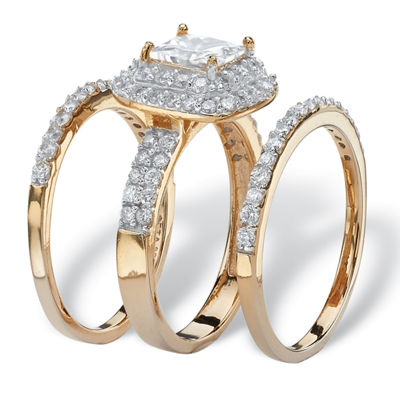 Diamonart Womens 2 1/3 CT. T.W. White Cubic Zirconia 14K Gold Over Silver Square Bridal Set