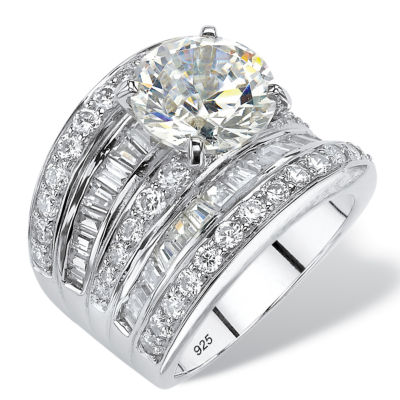 Diamonart Womens White Cubic Zirconia Platinum Over Silver Round Engagement Ring