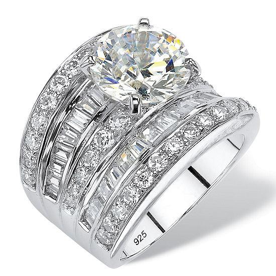 Diamonart Womens White Cubic Zirconia Platinum Over Silver Round Engagement Ring