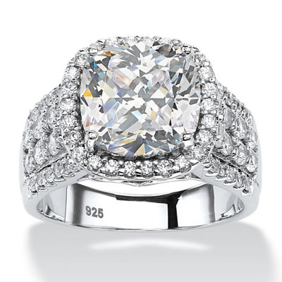 Diamonart Womens 3 3/4 CT. T.W. White Cubic Zirconia Platinum Over Silver Square Engagement Ring