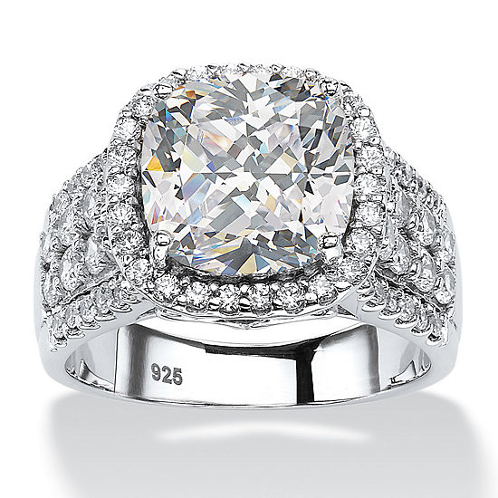 Diamonart Womens 3 3/4 CT. T.W. White Cubic Zirconia Platinum Over Silver Square Engagement Ring