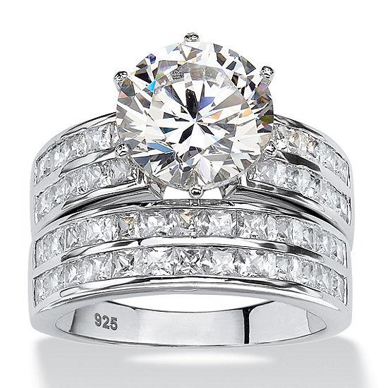 Diamonart Womens 5 3/4 CT. T.W. White Cubic Zirconia Platinum Over Silver Round Bridal Set