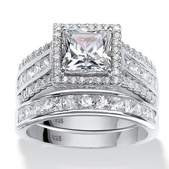 DiamonArt® Womens 3 1/2 CT. T.W White Cubic Zirconia Platinum Over Silver Square Bridal Set