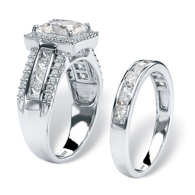 Diamonart Womens 3 1/2 CT. T.W White Cubic Zirconia Platinum Over Silver Square Bridal Set