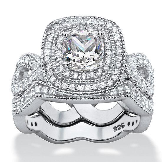 Diamonart Womens 1 7/8 CT. T.W. White Cubic Zirconia Platinum Over Silver Square Bridal Set