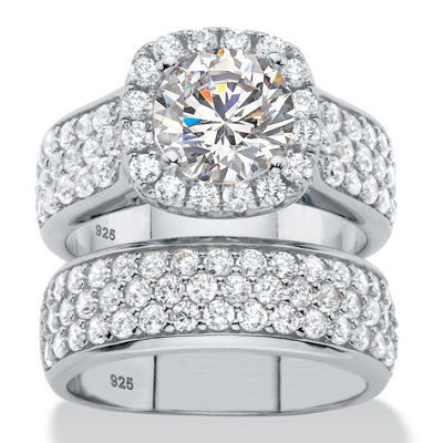 Diamonart Womens 4 1/2 CT. T.W. White Cubic Zirconia Platinum Over Silver Round Bridal Set