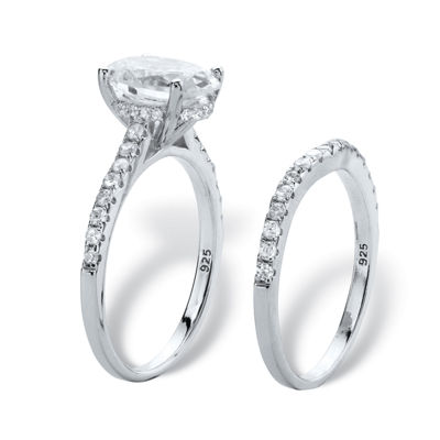 Diamonart Womens 3 1/4 CT. T.W. White Cubic Zirconia Platinum Over Silver Oval Bridal Set