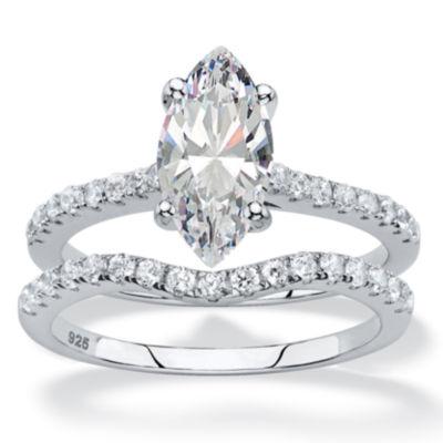Diamonart Womens 2 1/2 CT. T.W. White Cubic Zirconia Platinum Over Silver Diamond Bridal Set