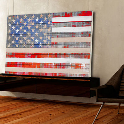 American Dream Painting Print on White Wood