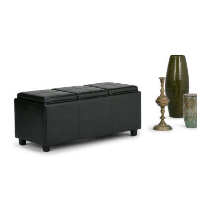 Avalon Extra Large Storage Ottoman With 3 ServingTrays