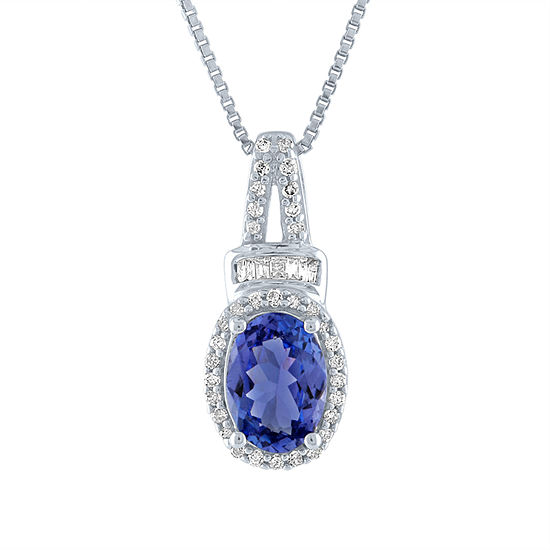 Womens 1/10 CT. T.W. Genuine Purple Tanzanite 10K Gold Pendant Necklace