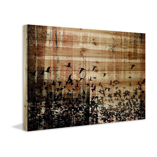 Aspen Wood Painting Print on Natural Pine Wood