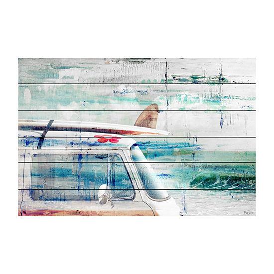 Beach Trip Painting Print on White Wood