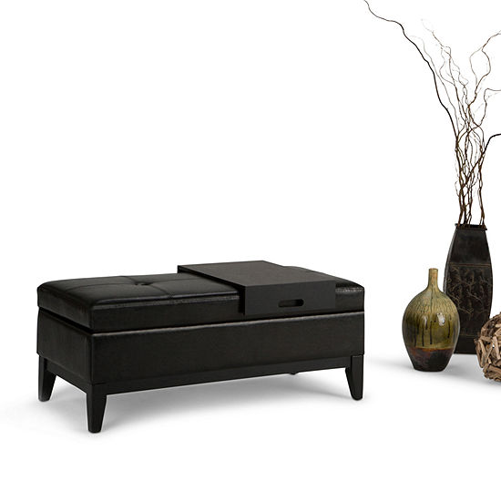 Oregon Storage Ottoman Bench With Tray