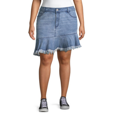 Arizona Asymetrical Denim Skirt-Juniors Plus