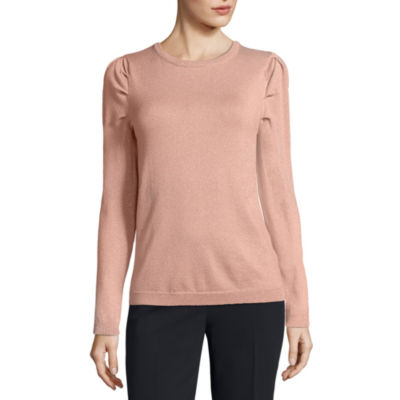 Worthington Long Sleeve Scoop Neck Pullover Sweater-Petite
