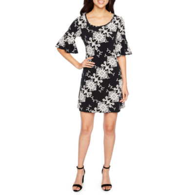 Ronni Nicole Elbow Bell Sleeve Puff Print Medallion Sheath Dress