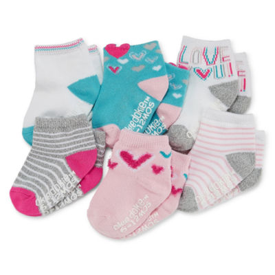 Okie Dokie Asst. Pink 6 Pair Crew Socks - Baby Girl