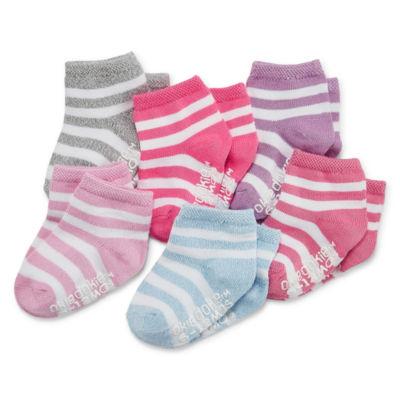 Okie Dokie Mutli Color Stripe 6 Pack Crew Socks - Baby Girl