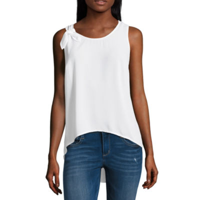 Project Runway Sleeveless Knotted Shoulder Top