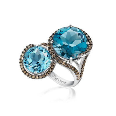 Grand Sample Sale™ by Le Vian® Deep Sea Blue Topaz™, Ocean Blue Topaz™, and Chocolate Diamonds® Ring in 14k Vanilla Gold®