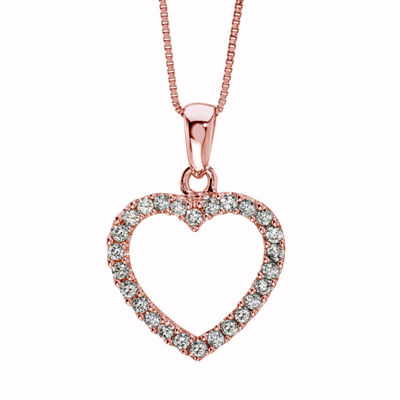 Womens 1/4 CT. T.W. Genuine White Diamond 14K Rose Gold Heart Pendant Necklace
