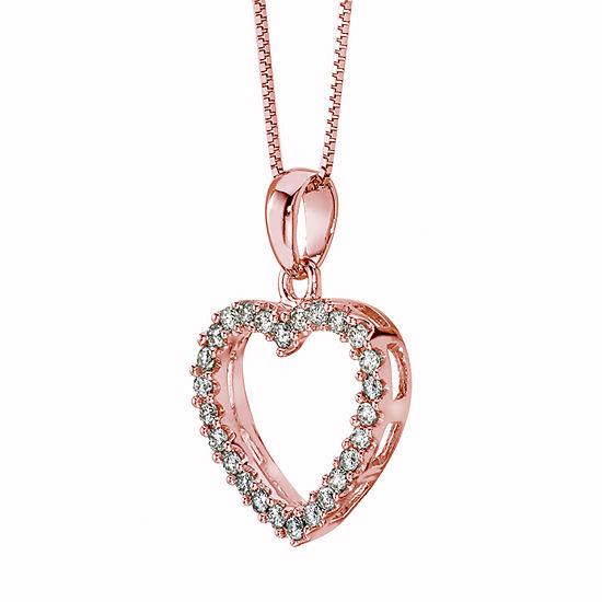 Womens 1/4 CT. T.W. Genuine White Diamond 14K Rose Gold Heart Pendant Necklace
