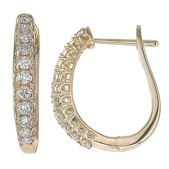 1/2 CT. T.W. Genuine White Diamond 14K Gold 20.1mm Hoop Earrings