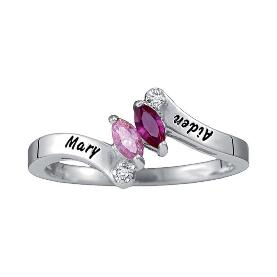 Womens Simulated Multi Color Stone Sterling Silver Bypass  Cocktail Ring