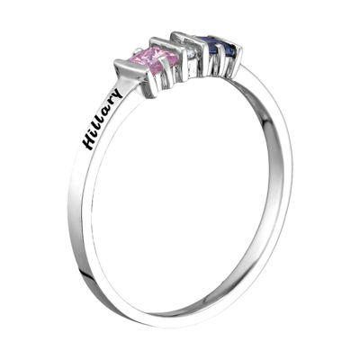Womens Simulated Multi Color Stone Sterling Silver Square Cocktail Ring