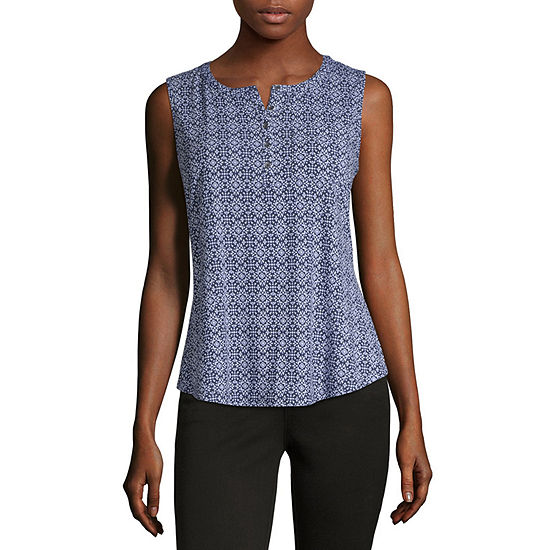 Liz Claiborne-Womens Henley Neck Sleeveless T-Shirt