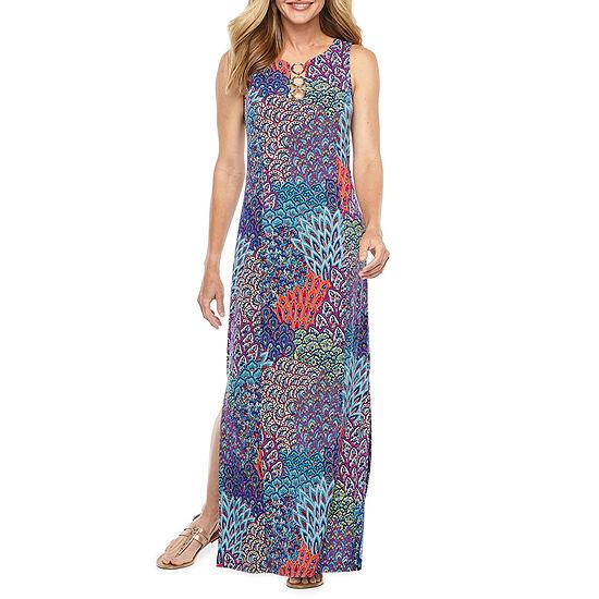 MSK Sleeveless Feather Print Maxi Dress