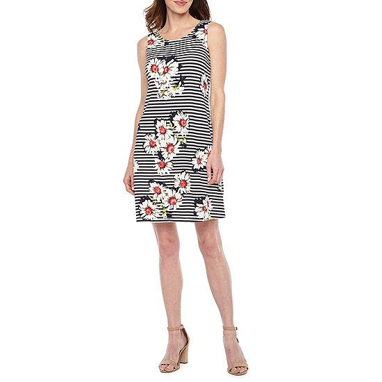Ronni Nicole Sleeveless Striped Shift Dress