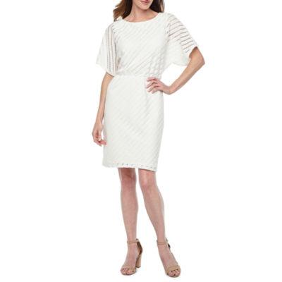 London Style Short Sleeve Eyelet Sheath Dress